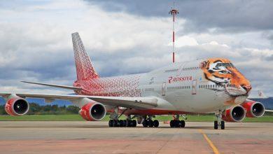 Photo of Rossiya Airlines beschildert 747 weer met tijger-livery