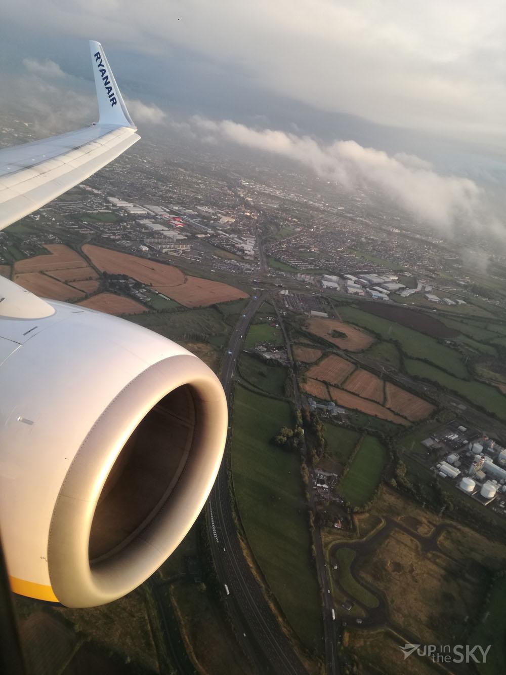 Het uitzicht bij de take-off vanaf Dublin