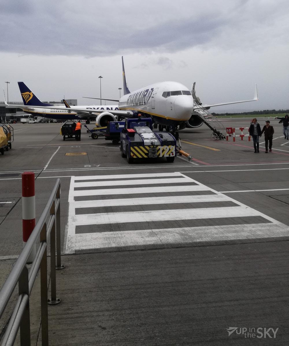 Het toestel na de landing op Dublin