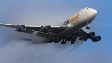 Photo of Atlas Air 747 raakt de landingsbaan met drie motoren