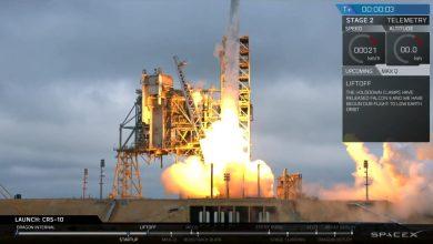 Photo of SpaceX testcapsule onderweg naar ISS