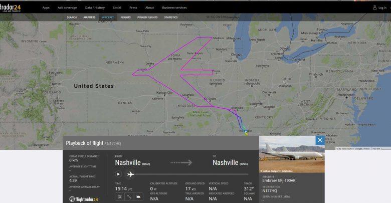 Speciale vlucht Embraer 190 voor verjaardag. Screenshot Flightradar24