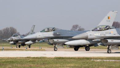 Photo of F-16's onderscheppen bommenwerpers boven Noordzee
