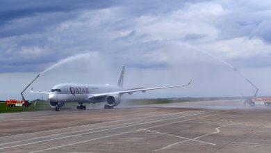 Photo of Qatar Airways eerste en laatste keer met A350 in Cardiff