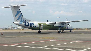 Photo of Flybe Q400 staat weer overeind na crashlanding Schiphol
