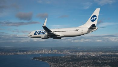 Photo of Boeing 737 UTair schiet van gladde landingsbaan en belandt op buik