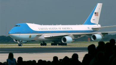 Photo of Air Force One replica vaart richting tentoonstelling